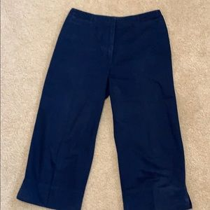 Cropped wide leg navy pants